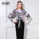 Dress Autumn of 2019 printing XS S M L XL Mid length dress singleton  Long sleeves commute Crew neck middle-waisted Decor zipper Pencil skirt puff sleeve Others 30-34 years old Type H Heathcliff Ol style Stitching strap button zipper F0998 More than 95% other polyester fiber Polyester 100%