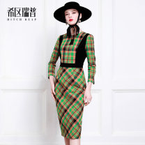 Dress Autumn of 2019 Green Grid XS S M L XL Mid length dress singleton  Long sleeves Crew neck middle-waisted other zipper Pencil skirt routine 30-34 years old Type X Heathcliff zipper More than 95% Light tweed polyester fiber Polyester 100% Pure e-commerce (online only)