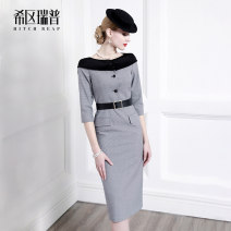 Dress Spring of 2019 grey XS S M L XL Mid length dress singleton  three quarter sleeve commute One word collar middle-waisted houndstooth  zipper Pencil skirt routine Others 30-34 years old Type H Heathcliff Retro Button zipper F0842 51% (inclusive) - 70% (inclusive) other polyester fiber