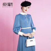 Dress Spring 2021 Haze blue S M L XL Mid length dress singleton  Long sleeves commute Polo collar middle-waisted Solid color zipper Pleated skirt bishop sleeve Others 30-34 years old Type X Heathcliff Retro Stitched button zipper F1341 More than 95% other polyester fiber Pure e-commerce (online only)
