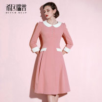 Dress Autumn of 2019 Fruit Pink XS S M L XL Mid length dress singleton  Nine point sleeve commute Doll Collar middle-waisted Solid color zipper Big swing routine Others 30-34 years old Type A Heathcliff Retro Button zipper F0991 91% (inclusive) - 95% (inclusive) other polyester fiber