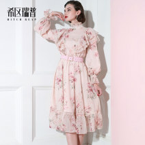 Dress Autumn of 2019 Floral long sleeve print short sleeve XS S M L XL Mid length dress singleton  Long sleeves Sweet High collar middle-waisted Broken flowers zipper Big swing bishop sleeve Others 30-34 years old Type A Heathcliff zipper F0975 More than 95% other polyester fiber Polyester 100%