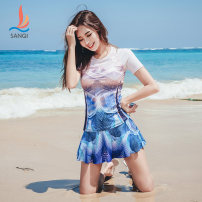 Split swimsuit Sanqi Blue 50 M L XL XXL Skirt split swimsuit With chest pad without steel support Nylon, spandex, polyester, others Summer of 2018 yes Crew neck Short sleeve