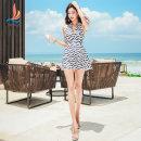 one piece  Sanqi M L XL XXL XXXL Decor 00 Skirt one piece Steel strap breast pad Nylon spandex polyester Autumn of 2018 yes female Sleeveless