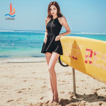 Split swimsuit Sanqi White 90 black 80 M L XL XXL Skirt split swimsuit With chest pad without steel support Nylon, spandex and others Summer of 2018 yes Crew neck Sleeveless