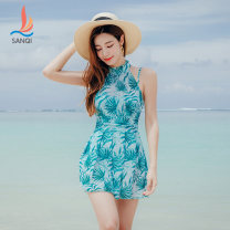 one piece  Sanqi M L XL XXL Green 40 Skirt one piece With chest pad without steel support Spandex polyester Autumn of 2019 yes female Sleeveless other backless
