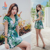 one piece  Sanqi L XL XXL XXXL Decor 00 Skirt one piece With chest pad without steel support Nylon spandex polyester Autumn of 2019 yes female Short sleeve Casual swimsuit Scenery other backless