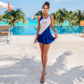 Split swimsuit Sanqi Blue 50 M L XL Skirt split swimsuit With chest pad without steel support Spandex polyester Summer of 2019 yes female Crew neck Sleeveless