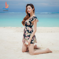 one piece  Sanqi M L XL XXL Decor 00 Skirt one piece With chest pad without steel support Nylon spandex polyester Autumn of 2019 yes female Short sleeve