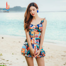 one piece  Sanqi M L XL XXL Decor 00 Skirt one piece Steel strap breast pad Nylon spandex polyester Autumn of 2019 yes female Sleeveless