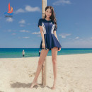one piece  Sanqi Navy Black Skirt one piece With chest pad without steel support Nylon, spandex, polyester, others Autumn 2020 yes female Short sleeve Casual swimsuit Solid color
