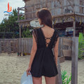 one piece  Sanqi XXL M L XL Skirt one piece With chest pad without steel support Nylon, spandex and others Summer 2020 yes female Sleeveless Casual swimsuit Solid color backless