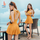 one piece  Sanqi M L XL XXL Yellow 30 black 80 Skirt one piece With chest pad without steel support Nylon, spandex, polyester, others Autumn of 2019 yes female Sleeveless Solid color Hollowing out