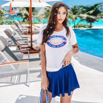 Split swimsuit Sanqi Blue 50 M L XL Skirt split swimsuit Steel strap breast pad Spandex polyester Summer of 2019 yes female Crew neck Short sleeve