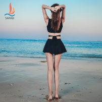 Split swimsuit Sanqi White 90 blue 50 black 80 M L XL Skirt split swimsuit Steel strap breast pad Nylon, spandex and others Summer of 2018 yes Crew neck Sleeveless