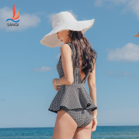 one piece  Sanqi M L XL Dark grey black Skirt one piece Steel strap breast pad Nylon, spandex and others Autumn 2020 yes female Sleeveless Casual swimsuit Solid color lattice