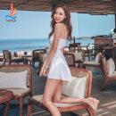 Split swimsuit Sanqi White 90 black 80 M L XL Skirt split swimsuit With chest pad without steel support Nylon spandex polyester Autumn of 2018 yes V-neck Sleeveless