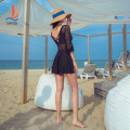 one piece  Sanqi M L XL Black 80 Skirt one piece With chest pad without steel support Nylon, spandex and others Summer 2020 yes female Long sleeves Casual swimsuit Solid color