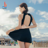 one piece  Sanqi M L XL black Skirt one piece With chest pad without steel support Nylon, spandex and others Autumn 2020 yes female Sleeveless Casual swimsuit Solid color bow