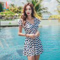 one piece  Sanqi M L XL XXL XXXL Decor 00 Skirt one piece With chest pad without steel support Nylon spandex polyester Autumn of 2018 yes female Short sleeve stripe
