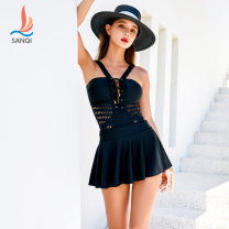one piece  Sanqi M L XL White 90 black 80 Skirt one piece With chest pad without steel support Nylon, spandex, polyester, others Summer of 2019 yes female Sleeveless Solid color Hollowing out
