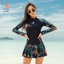 Split swimsuit Sanqi Orange 21 green 40 M L XL XXL XXXL Skirt split swimsuit With chest pad without steel support Nylon spandex polyester Autumn of 2019 yes female Crew neck Long sleeves