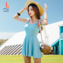 one piece  Sanqi M L XL Light blue 59 light purple 62 Skirt one piece With chest pad without steel support Nylon, spandex, polyester, others Autumn of 2019 yes female Sleeveless stripe backless