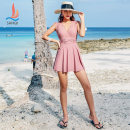 one piece  Sanqi L XL XXL XXXL Skirt one piece Steel strap breast pad Nylon spandex polyester Summer of 2019 yes female Sleeveless Solid color Pleating