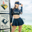 Split swimsuit Sanqi M L XL Skirt split swimsuit With chest pad without steel support Nylon spandex polyester Winter of 2019 yes female Crew neck Long sleeves