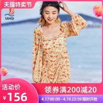 one piece  Sanqi M L XL Decor Skirt one piece With chest pad without steel support Nylon, spandex and others Spring 2021 yes female Long sleeves Casual swimsuit other Pleating