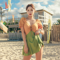 one piece  Sanqi M L XL Green yellow Skirt one piece With chest pad without steel support Nylon, spandex and others Autumn 2020 yes female Short sleeve Casual swimsuit Solid color