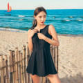 one piece  Sanqi M L XL XXL black One piece flat corner swimsuit With chest pad without steel support Nylon, spandex, polyester, others Autumn 2020 yes female Sleeveless Casual swimsuit Solid color backless