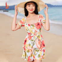 one piece  Sanqi M L XL Decor Skirt one piece Steel strap breast pad Nylon, spandex and others Spring 2021 yes female Short sleeve Casual swimsuit other Sticking cloth