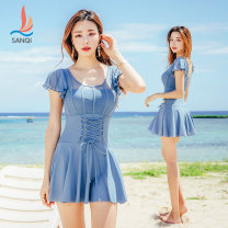 one piece  Sanqi M L XL XXL Brilliant blue grey 07 black 80 Skirt one piece Steel strap breast pad Nylon spandex polyester Autumn of 2019 yes female Short sleeve Casual swimsuit