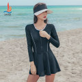 one piece  Sanqi M L XL XXL black Skirt one piece With chest pad without steel support Nylon, spandex and others Autumn 2020 yes female Long sleeves Casual swimsuit Solid color