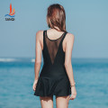 one piece  Sanqi M L XL XXL XXXL Skirt one piece With chest pad without steel support Nylon spandex polyester Winter of 2018 yes female Sleeveless Casual swimsuit Solid color others Pleating