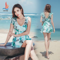 one piece  Sanqi L XL XXL XXXL Skirt one piece Steel strap breast pad Nylon, spandex, polyester, others Autumn of 2018 yes female Short sleeve Casual swimsuit backless