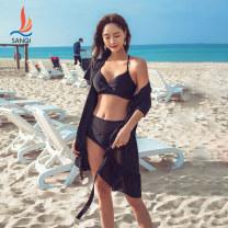 Bikini Sanqi Black 80 M L XL Skirt bikini Steel strap breast pad Nylon, spandex and others Summer 2020 yes