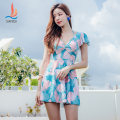 one piece  Sanqi M L XL XXL Blue 50 yellow 30 Skirt one piece Steel strap breast pad Spandex polyester Autumn of 2019 yes female Short sleeve Casual swimsuit Scenery other backless