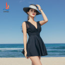 one piece  Sanqi M L XL XXL black Skirt one piece Steel strap breast pad Nylon, spandex and others Autumn 2020 yes female Sleeveless Casual swimsuit Solid color backless