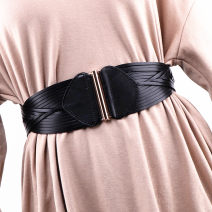 Belt / belt / chain top layer leather Black, brown, red, camel female Waistband grace Single loop Youth, middle age Smooth button Geometric pattern soft surface 9cm alloy Knitting, elastic YM-219372