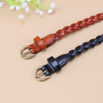 Belt / belt / chain top layer leather Black, light brown female belt Versatile Single loop Youth, youth, middle age Pin buckle other soft surface 1.5cm alloy weave Waist cobbler