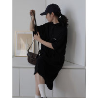 Dress Summer 2020 black XS,S,M,L,XL,2XL Mid length dress singleton  Short sleeve commute Polo collar Loose waist letter Socket other routine Others 18-24 years old Type H Korean version printing 81% (inclusive) - 90% (inclusive) other cotton