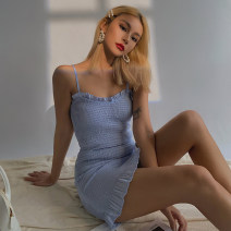 Dress Summer 2020 blue S, M Short skirt singleton  Sleeveless other Solid color Socket One pace skirt camisole other