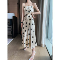 Dress Summer 2021 Light coffee S,M,L longuette singleton  Sleeveless commute Crew neck High waist Dot Socket A-line skirt routine camisole 25-29 years old Type A Other / other Korean version Q6091 91% (inclusive) - 95% (inclusive) Silk and satin other