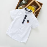 shirt White, blue, pink Other / other male 100cm,110cm,120cm,130cm,140cm,150cm summer Short sleeve leisure time Cartoon animation cotton Lapel and pointed collar Cotton 95% flax 5% Class B