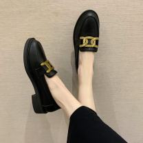 Low top shoes 35,36,37,38,39 Other / other Black, dark brown Round head PU Thick heel Middle heel (3-5cm) Midmouth PU Winter 2020 Trochanter rubber Single shoes