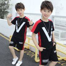suit Black, red 100cm,110cm,120cm,130cm,140cm,150cm,160cm male summer Korean version Short sleeve + pants 2 pieces Thin money There are models in the real shooting Socket nothing other cotton children Expression of love Class B Cotton 95% other 5% Chinese Mainland Guangdong Province
