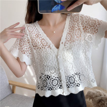 Lace / Chiffon Summer 2020 Apricot, white, black, fruit green, light purple One size fits all (quality Edition) Short sleeve Versatile Socket singleton  easy have cash less than that is registered in the accounts V-neck routine 18-24 years old Hollowed out, Gouhua hollowed out, lace