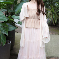 Lace / Chiffon Summer of 2019 Average size Long sleeves Versatile Cardigan singleton  easy Medium length Solid color pagoda sleeve 18-24 years old Other / other polyester fiber